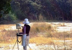 Artist Paints Landscape in Fort Clinch State Park, Amelia Island