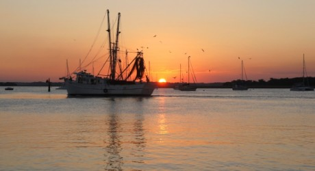 Fernandina Beach Shrimpboat at Sunset Photo Amelia Island