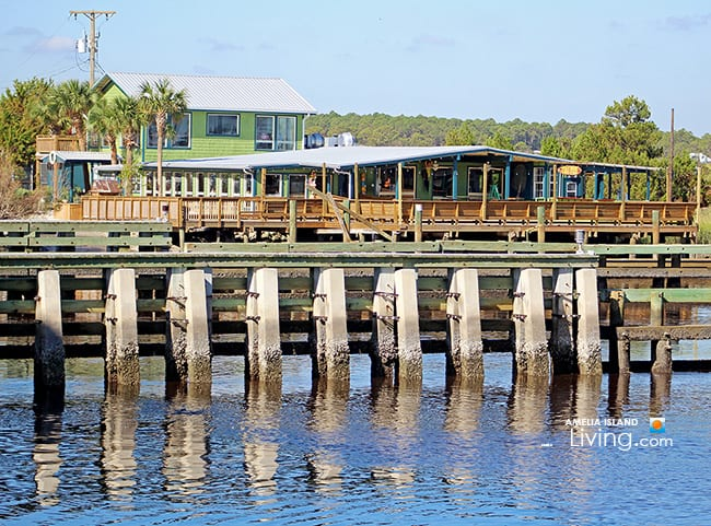 Dockside dining and drinks at riverfront Down Under Restaurant in Fernandina Beach