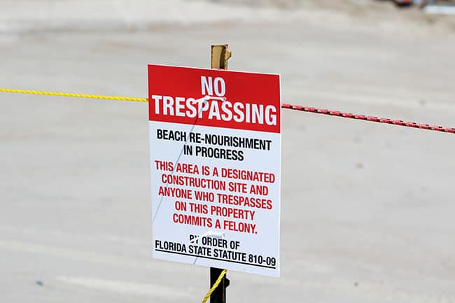 Beach Renourishment Project, Stay Clear of Roped Off Areas