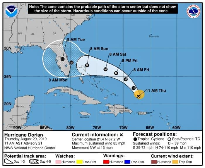 NOAA NWS National Hurricane Center Dorian Map August 29, 2019 (11 am)