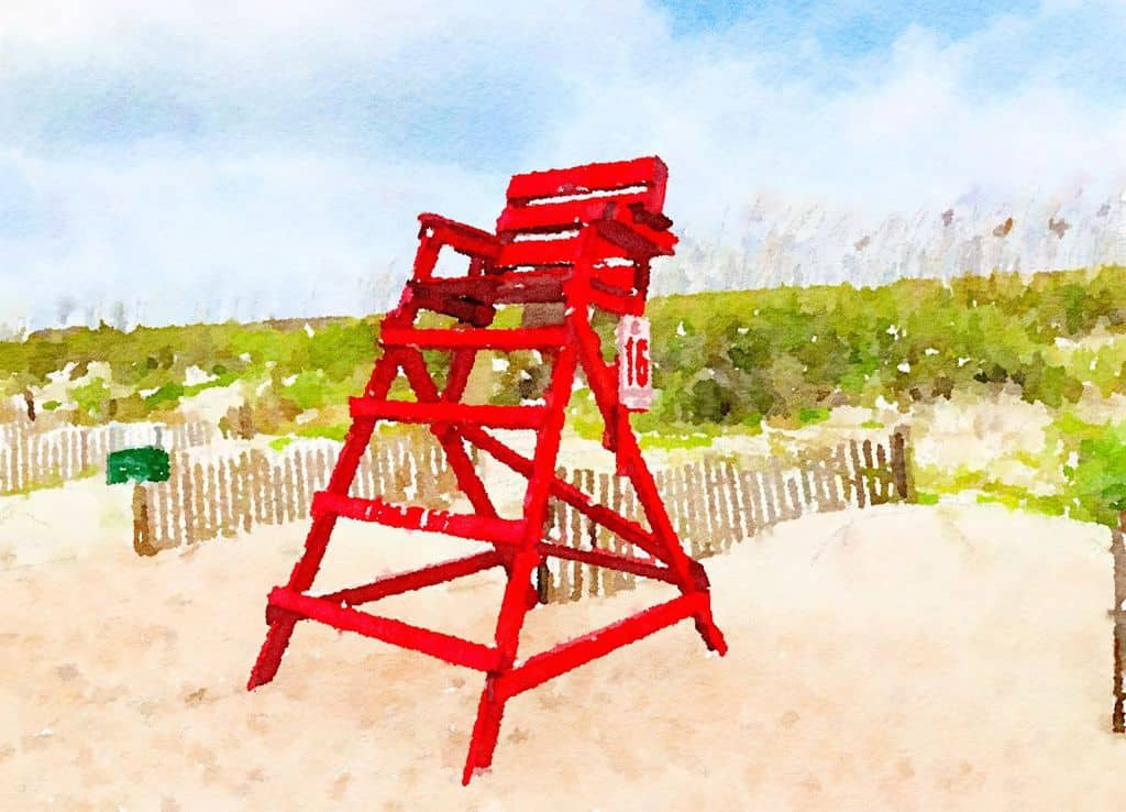 Amelia Island Lifeguard Chair Empty, August 2019