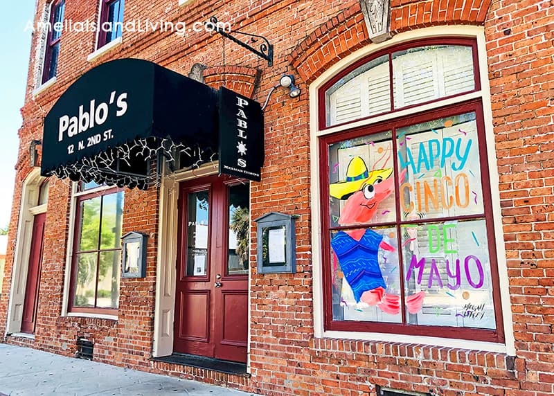 Downtown Fernandina Beach Restaurant Pablo's. Photo by Amelia Island Living eMagazine (May 2020).