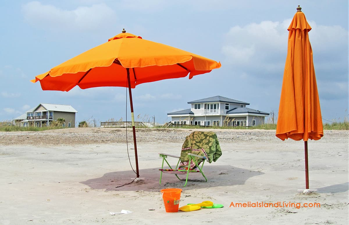 Florida orange beach umbrellas, Amelia Island Living magazine, Fernandina Beach.