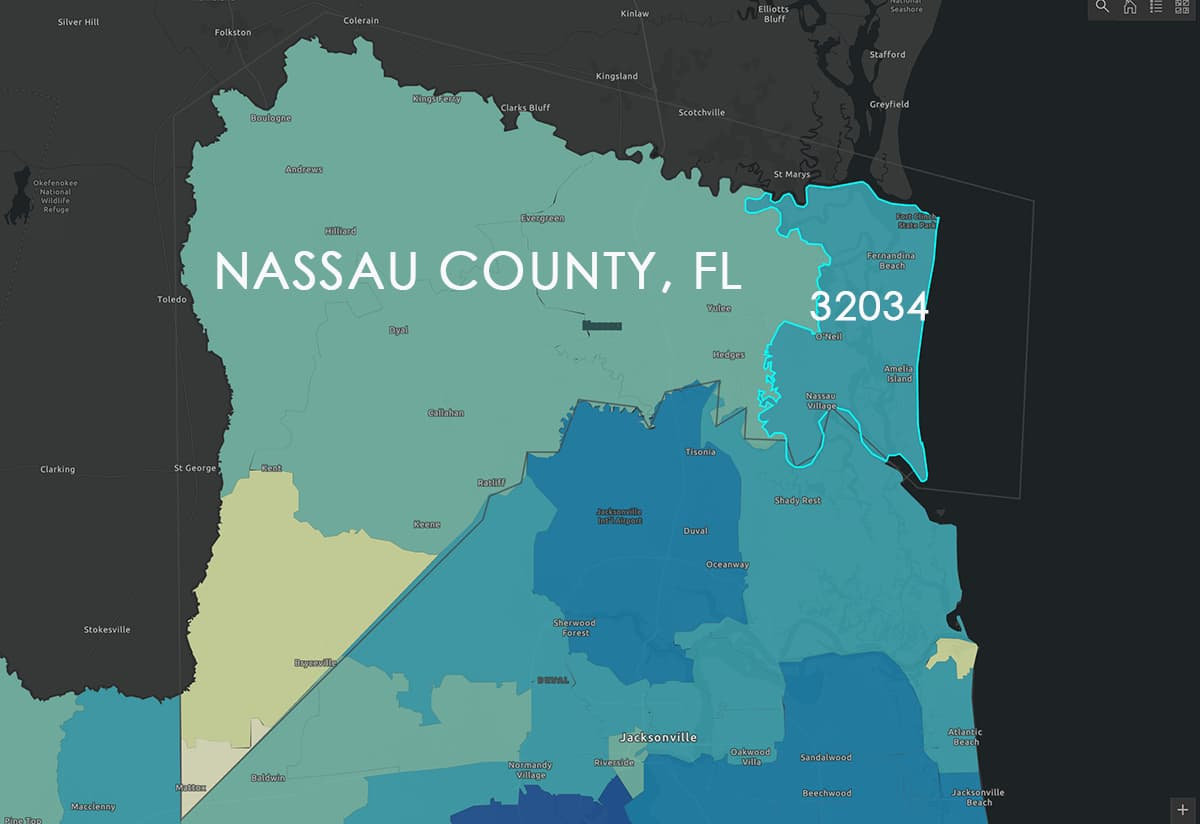 Nassau County Map, Florida Health-Dept-COVID-19-Dashboard