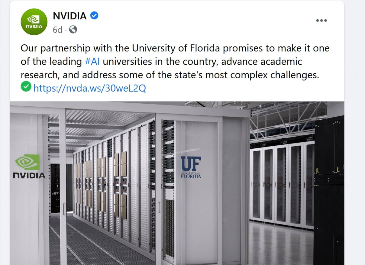 NVIDIA Facebook post announcement, University of Florida supercomputer, public-private partnership, July 22, 2020