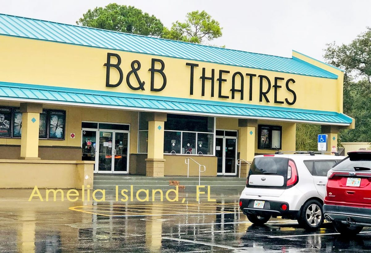Amelia Island movie theater, B & B, Fernandina Beach reopened September 2020. Photo by AmeliaIslandLiving.com.